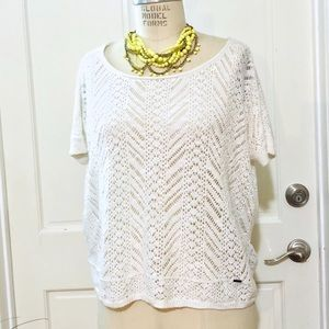 HOLLISTER Cotton Crotchet Boxy Top
